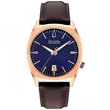 Bulova Accutron II Blue Dial Rose Gold Tone Case Watch