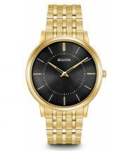 Bulova Classic Black Dial Gold Tone Watch