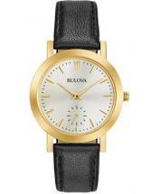 Bulova Classic Gold Tone Case Black Leather Watch