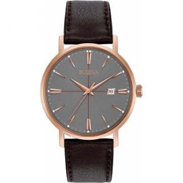 Bulova Classic Gray Dial Black Leather Watch