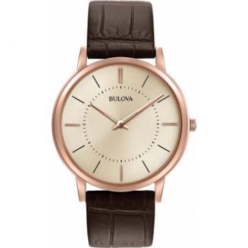 Bulova Classic Rose Gold Tone Case Brown Leather Watch