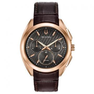 Bulova CURV Chronograph Rose Gold Tone Leather
