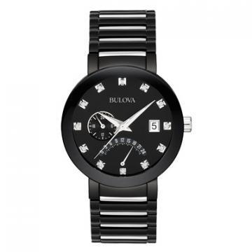 Bulova Diamond Black IP And Silver Tone Watch
