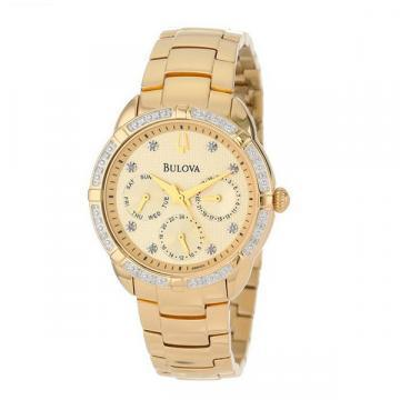 Bulova Diamond Cream Dial Gold Tone Chronograph