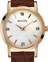 Bulova Diamond Rose Gold Tone Brown Gator Leather Watch