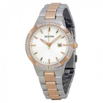 Bulova Diamond White Dial Silver & Rose Gold Tone Watch