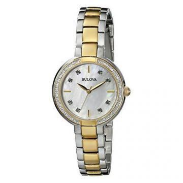 Bulova Diamond White Dial Two Tone Watch