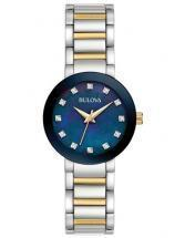 Bulova Diamonds Blue Mother Of Pearl Two Tone Watch