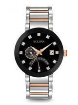 Bulova Diamonds Dual Time Silver And Rose Tone Watch