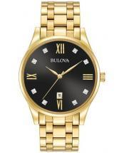 Bulova Diamonds Gold Tone Black Dial Watch