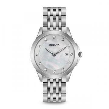 Bulova Diamonds Mother Of Pearl Silver Tone Watch