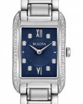 Bulova Diamonds Sapphire Blue Dial Silver Tone Watch