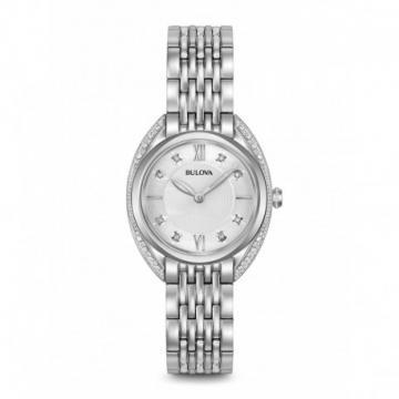 Bulova Diamonds Sapphire All Silver Tone Watch