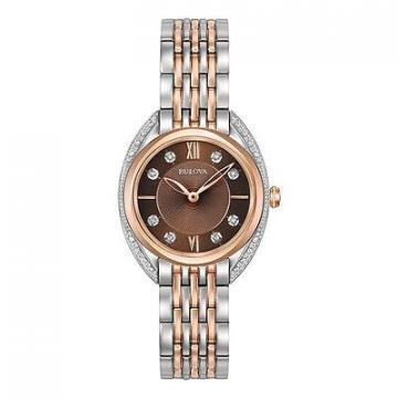 Bulova Diamonds Sapphire Silver & Rose Gold Tone Watch