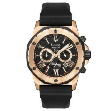 Bulova Marine Star Chronograph Black Rubber Rose Gold Tone