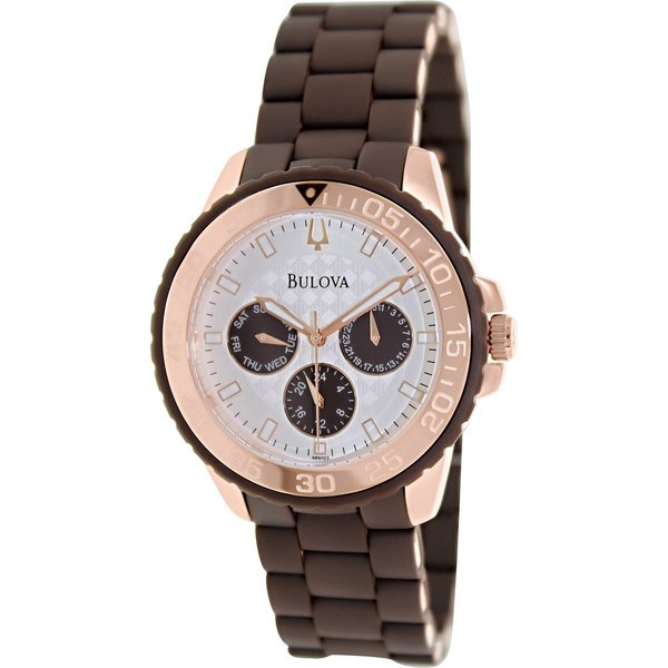 Bulova Sport Rose Gold Tone & Brown Rubber Watch