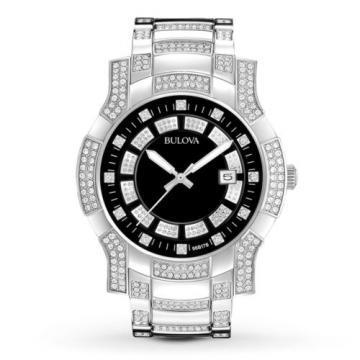 Bulova Swarovski Crystals Black Dial Watch