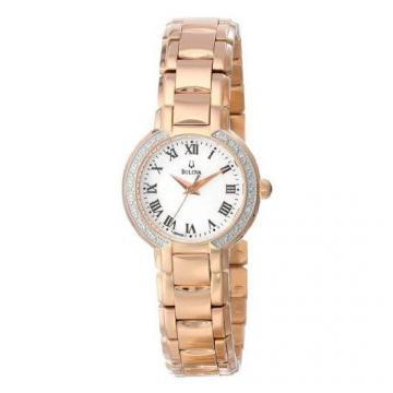 Bulova White Dial Rose Gold Tone Bracelet Watch