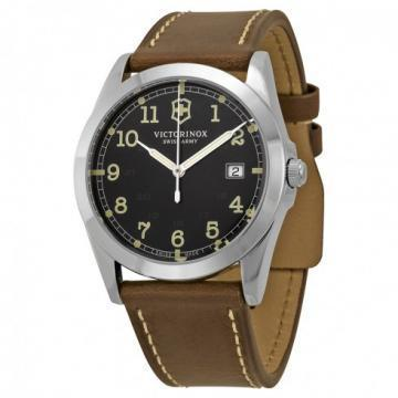Victorinox Infantry Dark Gray Dial Brown Leather Watch