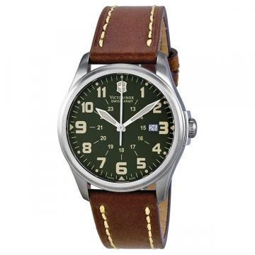 Victorinox Infantry Green Dial Brown Leather Watch