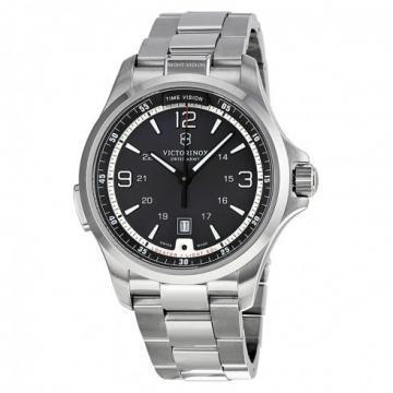 Victorinox Night Vision Black Dial Silver Tone Watch