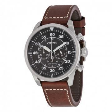 Citizen Eco-Drive Avion Black Dial Brown Leather