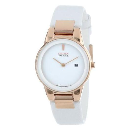 Citizen Eco-Drive Axiom Rose Gold Tone Case White Leather Watch
