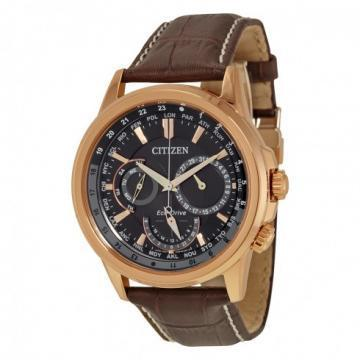Citizen Eco-Drive Calendrier Multifunction Dark Brown Leather Chronograph