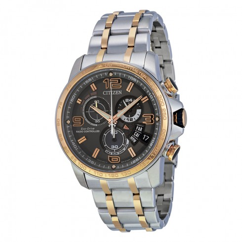 Citizen Eco-Drive Chrono-Time A-T Silver & Rose Tone Chronograph