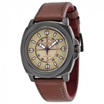 Citizen Eco-Drive CTO Beige Dial Brown Leather Watch