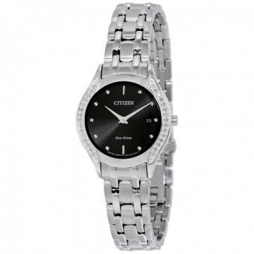 Citizen Eco-Drive Diamond Black Dial Silver Tone 30 Diamonds Watch