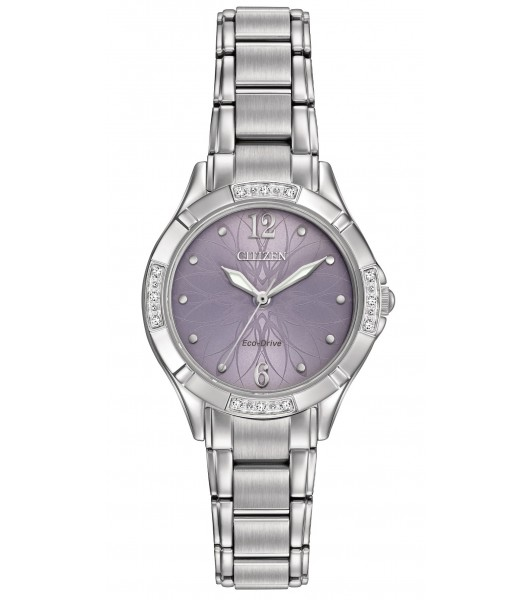 Citizen Eco-Drive Diamond Lavender Flower Dial 12 Diamonds Watch