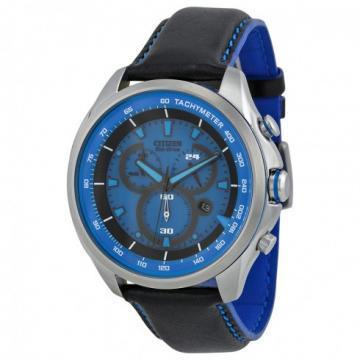 Citizen Eco-Drive Drive Blue Dial Black Leather Chronograph