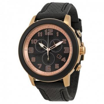Citizen Eco-Drive Drive Gold Tone Case Black Leather Chronograph