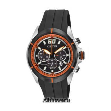 Citizen Eco-Drive HTM Chronograph Black Polyurethane Chronograph