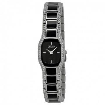 Citizen Eco-Drive Normandie Black/Silver Tone Swarovski Crystals Watch