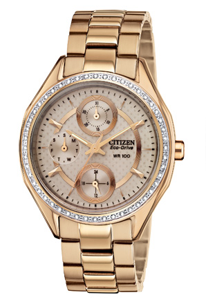 Citizen Eco-Drive POV Multifunction Crystal Rose Gold Tone Chronograph
