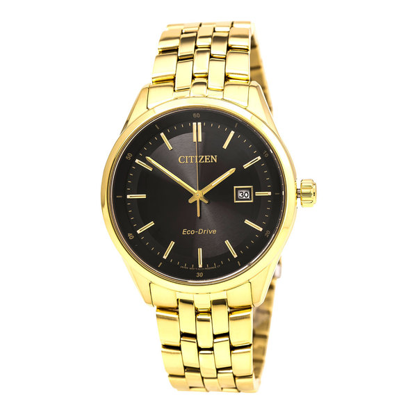 Citizen Eco-Drive Sapphire Gold Tone Black Dial Watch
