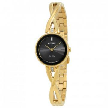 Citizen Eco-Drive Silhouette Bangle Gold Tone Swarovski Crystals Watch