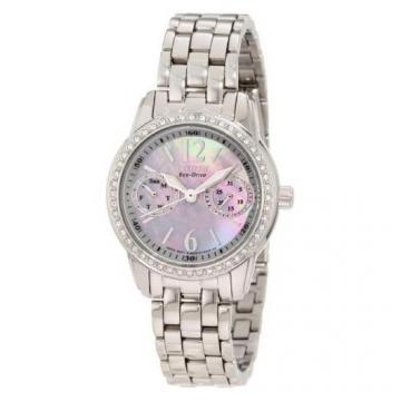 Citizen Eco-Drive Silhouette Crystal Multifunction Silver Tone Watch
