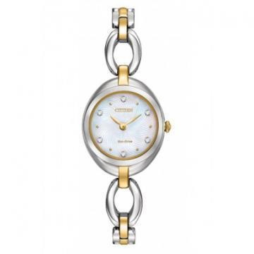 Citizen Eco-Drive Silhouette Two Tone Swarovski Crystals Watch