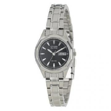 Citizen Eco-Drive Silver Tone Black Dial Bracelet Watch