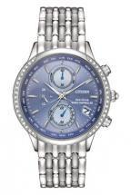 Citizen Eco-Drive World Chronograph A-T 38 Diamonds Silver Tone