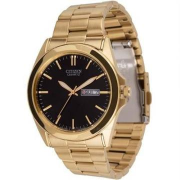 Citizen Quartz Black Dial Gold Tone Watch