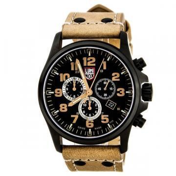 Luminox Land Atacama Field Alarm Chronograph Black Dial Tan Leather Strap
