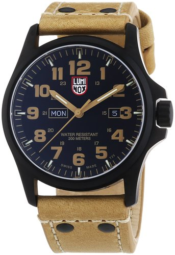 Luminox Land Atacama Field Black Dial Tan Leather Strap Men's Watch