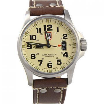 Luminox Land Field Day Date Ivory Dial Brown Leather Strap Men's Watch