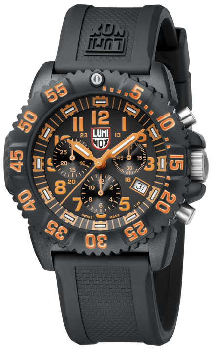 Luminox Sea Navy Seal Colormark Chronograph Orange And Black Dial