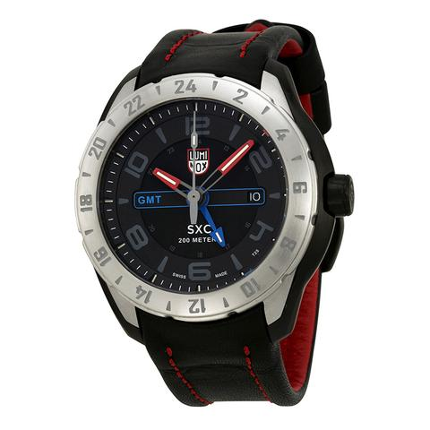 Luminox Space SXC PC STEEL GMT Black Dial Leather Strap Men's Watch