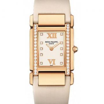 Patek Philippe Rose Gold Ladies Twenty~4 Timeless White Watch